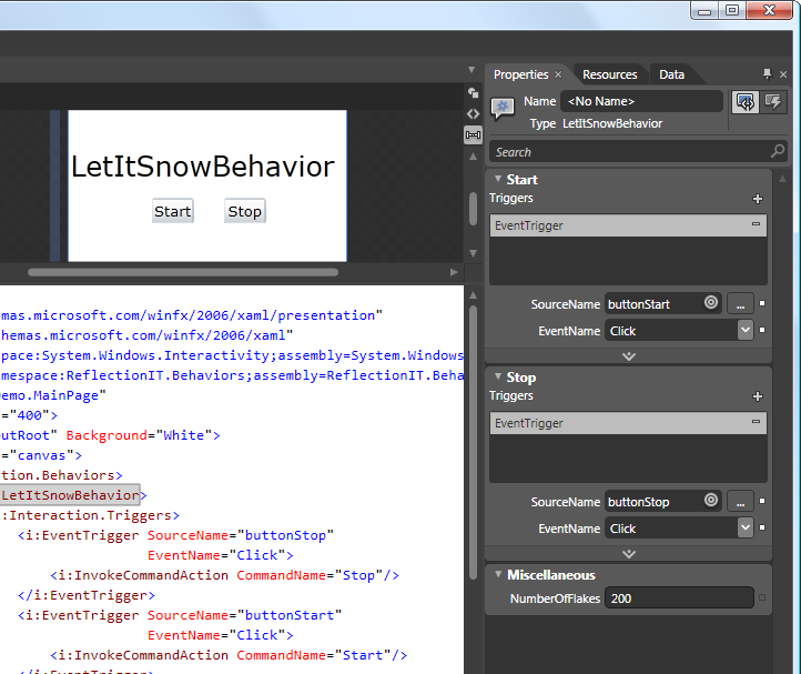 Set Triggers on LetItSnowBehavior in Expression Blend 3.0