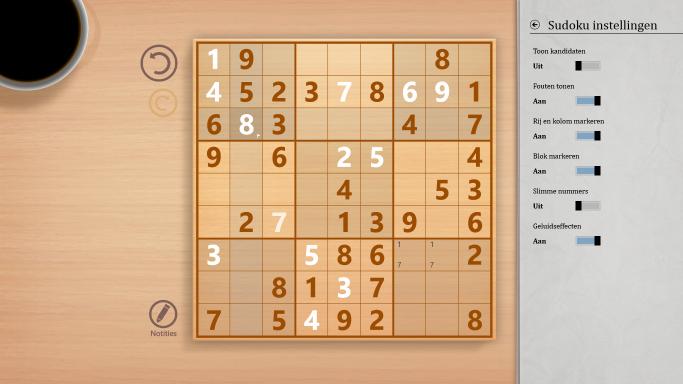 Sudoku instellingen
